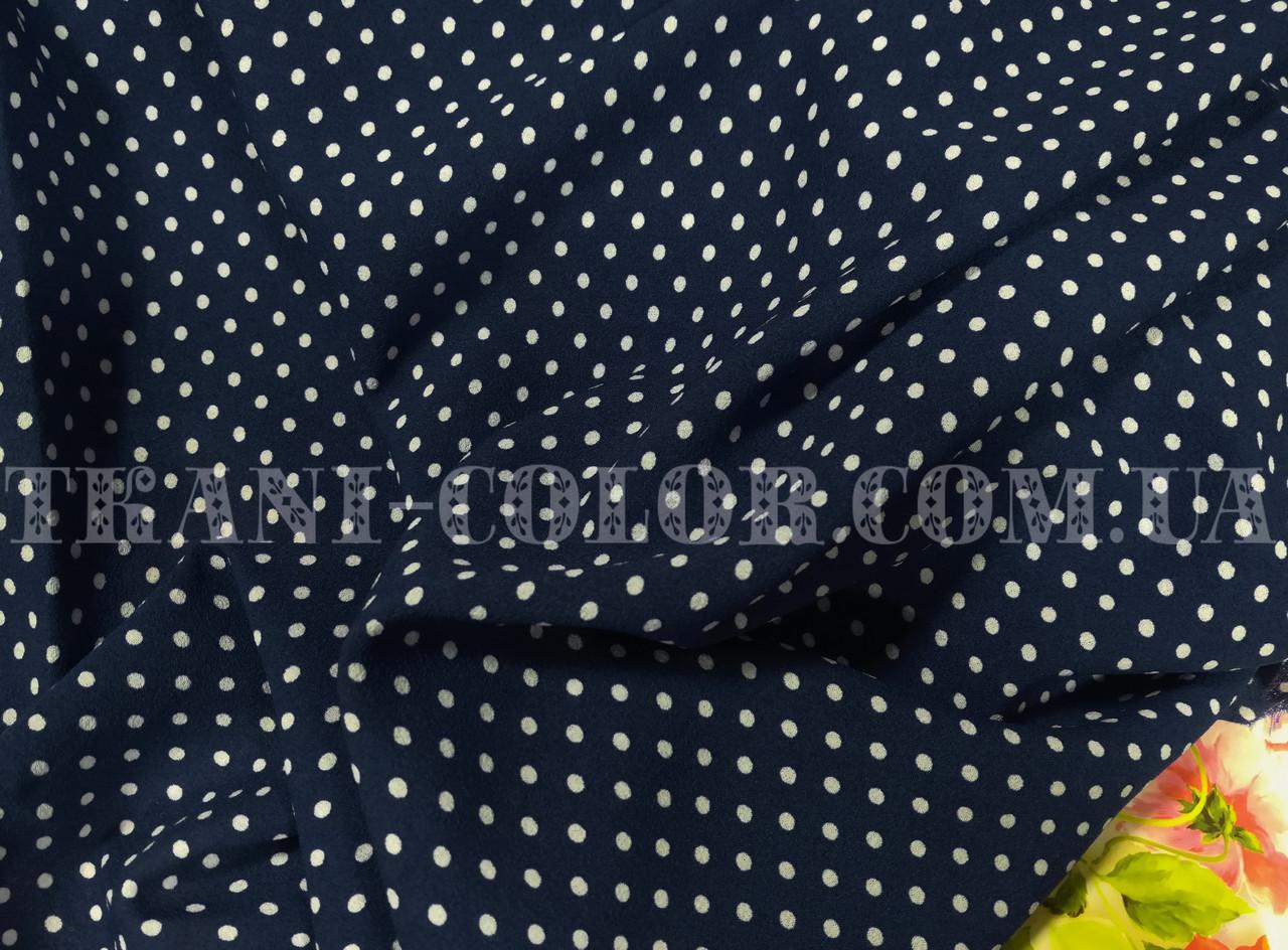 Ткань креп-шифон принт белый горох на темно-синем фоне