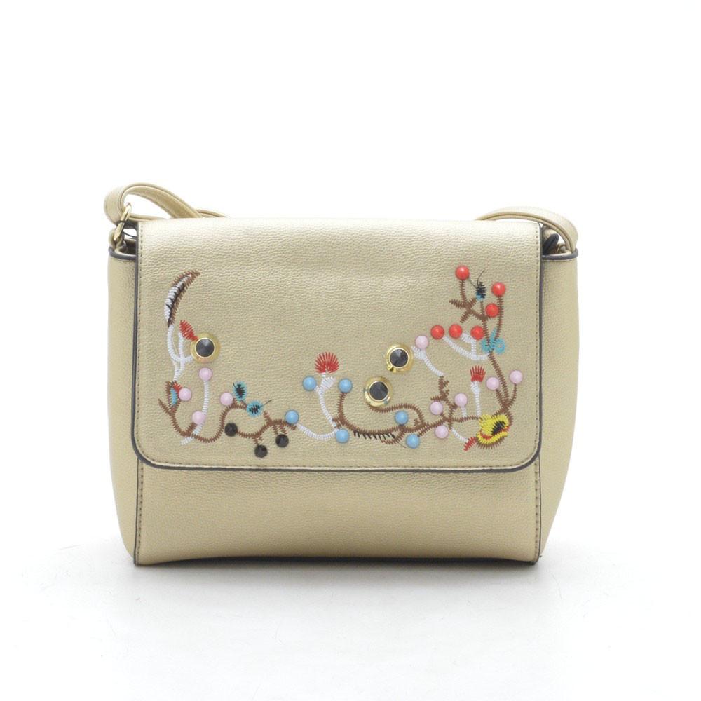 e4af04561a5f Модный нежный стильный клатч с вышивкой , золотистый - Интернет магазин