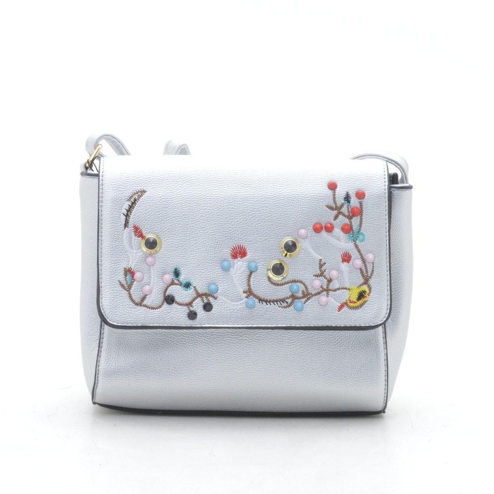 c885790b6e68 Модный нежный стильный клатч с вышивкой , серебро - Интернет магазин