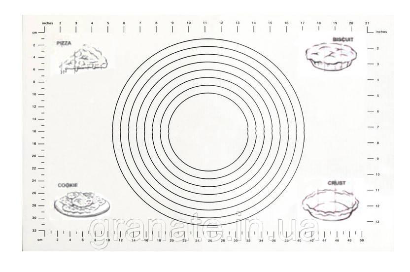 Армированный силиконовый коврик для раскатки теста и выпечки, коврик с разметкой 61х41см