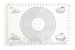 Армированный силиконовый коврик для раскатки теста, коврик для запекания, коврик с разметкой 61х41см