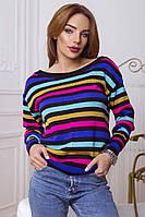Женский стильный вязаный разноцветный свитер в полоску