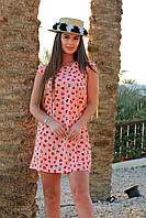 Короткое легкое летнее платье с принтом сердечек для романтических девушек