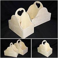 Ящик на 2 отделения, материал - дерево и фанера, для творчества, 26х25х14 см., 180/150 (цена за 1 шт. + 30 гр)