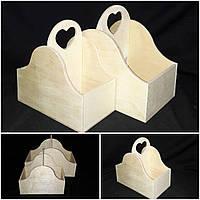 Деревянный ящик, 2 отделения, дерево и фанера, под творчество, 29х35х19 см., 230/200 (цена за 1 шт. + 30 гр)