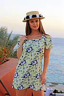 Легкое летнее платье сарафан с принтом цветов для романтических девушек