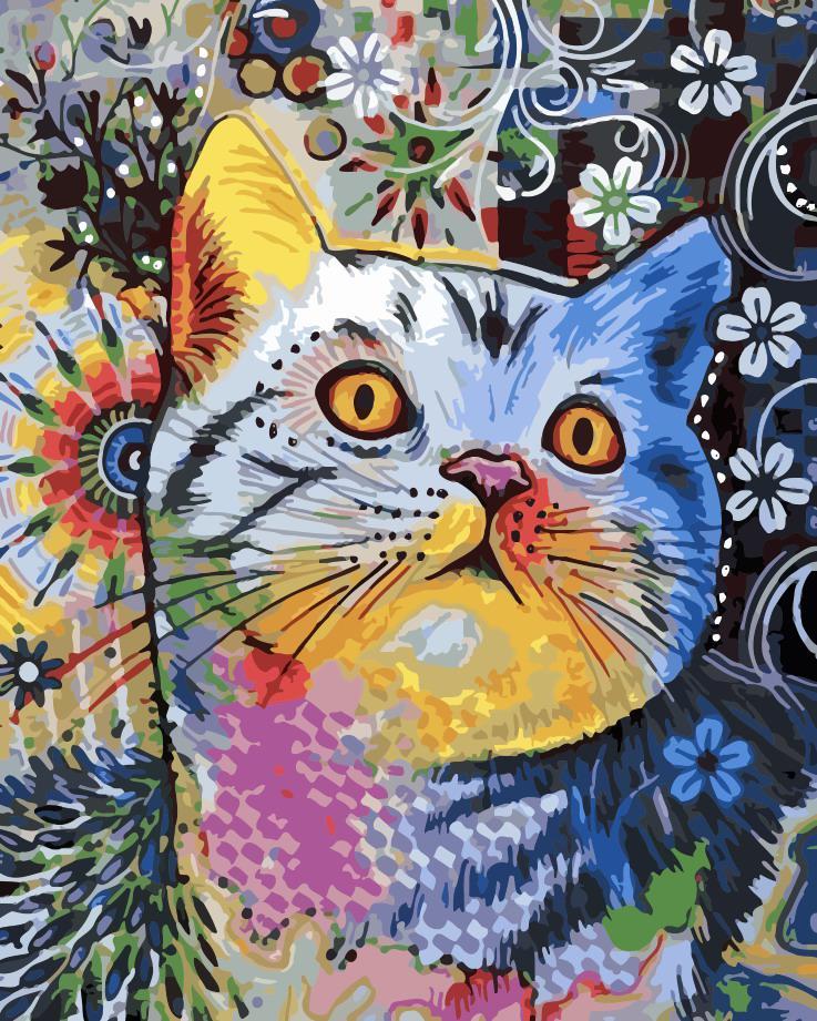 """Картина по номерам """"Цветной кот"""" 40*50см"""
