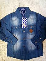 Рубашка для мальчиков из тонкого джинса 4-12 лет