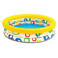 Детский надувной бассейн для малышей от 1 года до 3 лет, 2 кольца, 114 х 25 см, 132 л, intex 59419