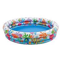Детский надувной бассейн круглый с рыбками для детей от 3 лет, 3 кольца, 132 х 28 см, 114 л, intex 59431