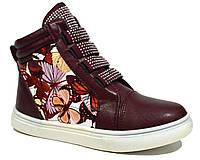 Детские демисезонные ботинки со стразами для девочки, Meekone red wine (маломерят)