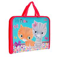"""Папка-портфель на молнии с тканевыми ручками """"Little meow"""", фото 1"""