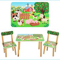 Детский столик деревянный, 60-40см, 2 стульчика, ферма, в кор-ке