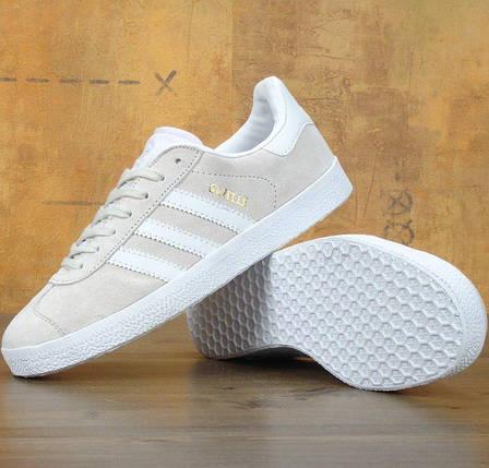 Женские кроссовки Adidas Gazelle Beige (Топ реплика ААА+), фото 2
