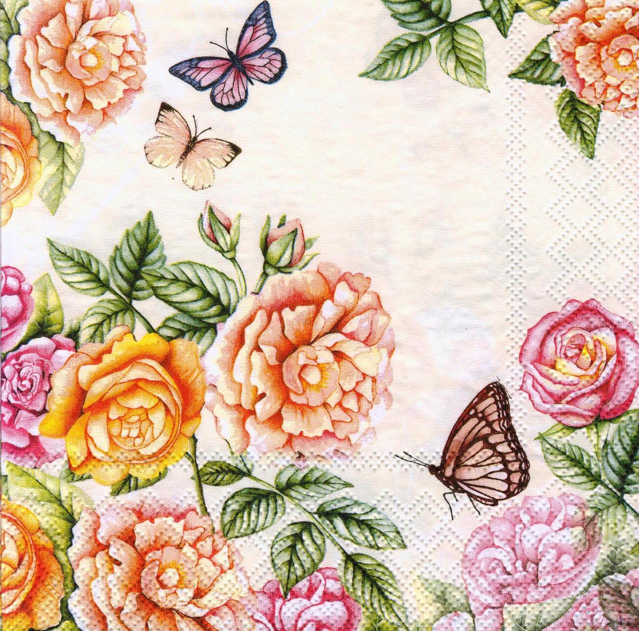 Салфетка декупажная Розы и бабочки на бежевом фоне 7375