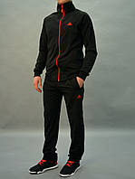 Черный мужской спортивный костюм Adidas (Адидас)  / Трикотаж-дайвинг - эластичный и практичный