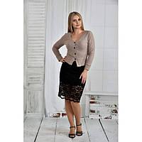 Бежевая блузка 42-74 размер ККК64-0395-1
