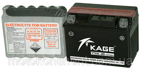 Аккумулятор для мотоцикла  KAGE AGM 3,5 Ah  45A  размер 113 x 70 x 86 мм аналог  YUASA YTX4L-BS, фото 2