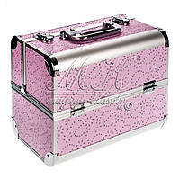 """Профессиональный алюминиевый кейс для косметики """"Exclusive Series"""" розовый узор , фото 1"""