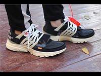Мужские кроссовки в стиле Off-White x Nike Air Presto черные на белой, фото 1