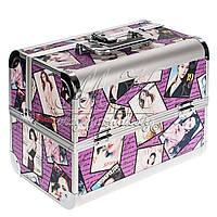 """Профессиональный алюминиевый кейс для косметики """"Exclusive Series"""" фиолетовый принт , фото 1"""