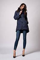 Утепленная демисезонная женская куртка темно-синего цвета (к-103)