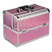 """Профессиональный алюминиевый кейс для косметики """"Exclusive Series"""" розовый ромбик, фото 1"""