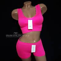 Розовый бесшовный комплект Lemila 673-4. Топ + шорты. Размер M, фото 1
