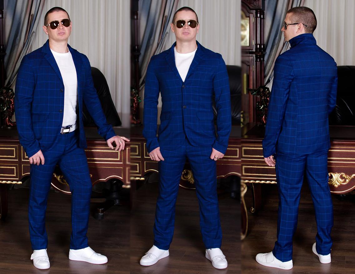 """Мужской стильный брючный костюм 736 """"Двойка Клетка"""""""