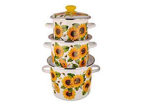 """Набор эмалированной посуды 3 предмета №5 Подсолнухи """"Idilia"""""""
