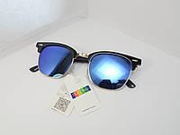 Модные зеркальные синие очки с золотой оправой