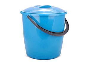 Ведро пластиковое пищевое с крышкой Мед 8 л голубое