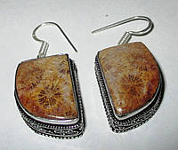 Яркие серебряные серьги  с натуральным желтым кораллом  от студии LadyStyle.Biz, фото 1