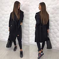 Женское шерстяное пальто-кардиган на запах с нашивками