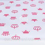 Лоскут ткани №1195а с малиновыми коронами белом фоне, фото 2