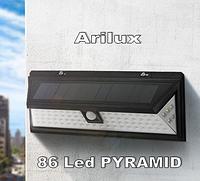 Светодиодный светильник 86 Led на солнечной батарее с датчиком движения  ARILUX   AL-SL12 3 режима Пирамида, фото 1