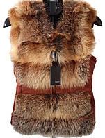 Красивая шубка жилет из меха рыжей лисы и натуральной кожи р. 42-52 RO-1097
