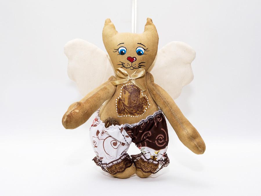 Кофейная игрушка Ангел Кот большой.