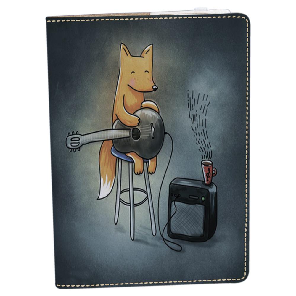 Обложка на блокнот v.2.0. A5 Fisher Gifts 180 Лисичка с гитарой (эко-кожа)