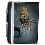 Обложка на блокнот v.2.0. A5 Fisher Gifts 180 Лисичка с гитарой (эко-кожа), фото 3