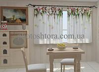 Фотоштора Ламбрекены из цветов. Розочки для кухни