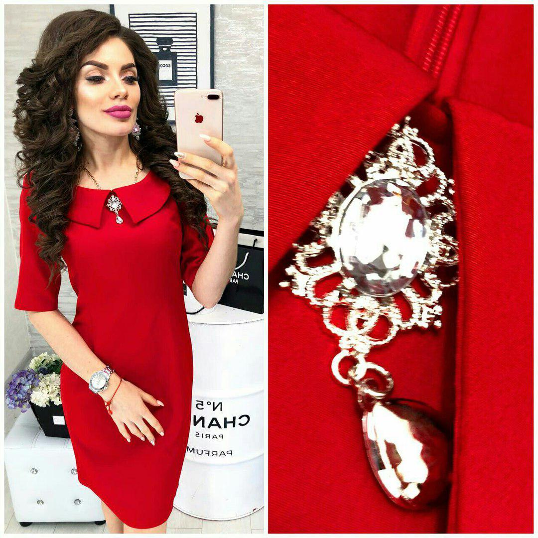 Платье с брошкой в расцветках 24571  Интернет-магазин модной женской одежды  оптом и в розницу . Самые низкие цены в Украине. платья женские от