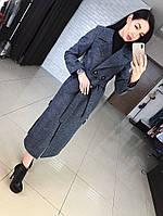 Шерстяное женское удлиненное пальто с поясом, фото 1
