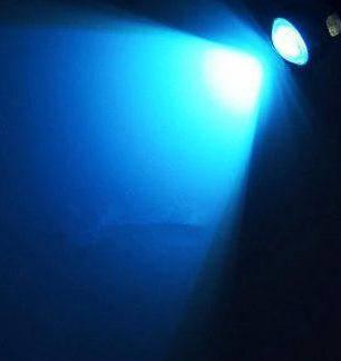 Светодиодный линзованный мини светильник синий 12V 3W с гайкой черный Код.58924, фото 2