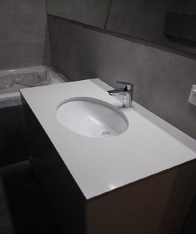 Столешница в ванную из кварцита АТЕМ White 0011, фото 2