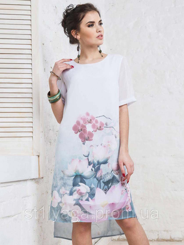 Платье прямого кроя с нежным цветочным принтом и короткими рукавами ЛЕТО