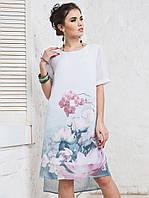 Платье прямого кроя с нежным цветочным принтом и короткими рукавами ЛЕТО, фото 1