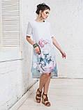 Платье прямого кроя с нежным цветочным принтом и короткими рукавами ЛЕТО, фото 2