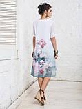 Платье прямого кроя с нежным цветочным принтом и короткими рукавами ЛЕТО, фото 5