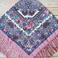 Нежный женский платок с цветами (120х120см, 80%-шерсть)